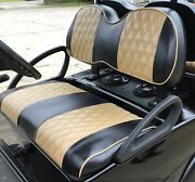 Custom Diamond Pleated Golf Cart Seat Coversblack W/totally Tan Strps And Ppg