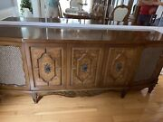 Vintage Stereo Console Cabinet With Speakers, Radio, Turntable