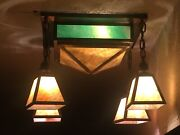 Original Antique Arts And Crafts Mission Green And Amber Stained Glass Hanging Lamp