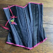 Black And Shocking Pink Lace Up And Hook And Eye Corset Size 10 Frilly Lilly