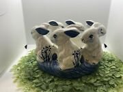 Set Of 2 - Dedham Potting Shed Pottery Bunny Bunnies Blue White Bookends