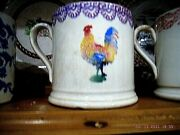 3 Spongeware Mugs Cockrell /moose/cuckoo In Excellent Condition/portneuf