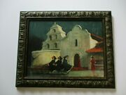 Abruzzi Harold Sthenson Oil Painting Rare Nun Church Mission Bicycle Bike 1950and039s