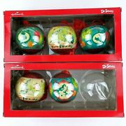 Who Stole Christmas 5 Round Hallmark Ornaments In Box Dr. Seuss 2013