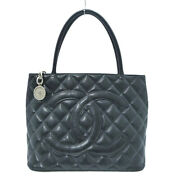Auth Cc Logo Medallion Quilted Caviar Leather Tote Bag Black W409054