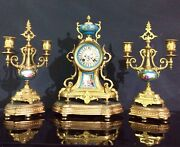 Mid 19th C. French Empire Style Ormolu Clock And Garniture Set Japy Freres