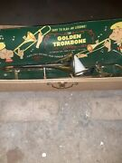 Vintage Emenee The Golden Trombone Musical Toy With Original Box Used But Works