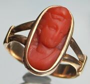 Special Fine Quality Victorian 14ct Gold Chinese Lady Coral Cameo Ring Size O