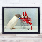 Christmas Shopping Mouse With Little Mice Trolley Wall Art Print