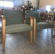 Thonet Mid Century Modern Bentwood Green Striped Upholstered Arm Chairs A Pair