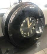 Large Vintage Glo-dial Neon Clock 26 Very Rare-1940and039s-1950and039s