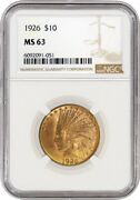 1926 10 Indian Head Eagle Gold Ngc Ms63 Brilliant Uncirculated Coin 051