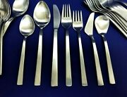 Germany Cus Mid-century Modern 18/8 Satin Stainless Flatware 44 Pieces