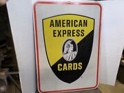 Vintage Large American Express Cards Double Sided Metal Advertising Sign 26 X