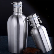 Beer Growler Bottle With Flip Top Stainless Steel Travel Hip Flask Silver