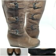 Franco Sarto Brown Leather Buckle Wedge Heel Boot Shoes Women Size 7.5 M