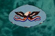 Native American Beaded Large Hair Barrette, Eagle And Flag Motif