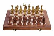India Crafts Wooden Folding Chess Game Board Set And Brass Roman Figure Pieces