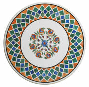 White Round Marble Dining Table Top Mosaic Inlay Art Living Garden Decors H2386