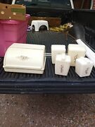 Vintage Bread Box And 4 Piece Canister Set Plastic