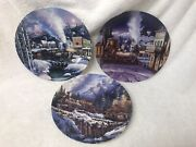 Lot Of 3 Bradford Exchange Trains Of The Great West Collectible Plates W/coa