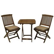 Outdoor Bistro Set Table And Chairs 3-piece Eucalyptus Folding W/ Beige Cushions