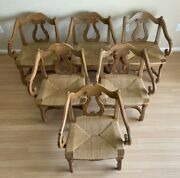 6 Vintage 60s Mid-century Thomasville Solid Wood Rush Seat Dining Chairs Set