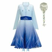 Elsa 2 Princess Dress For Girls Long Sleeve Snow Queen Party Costume