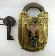 Vintage Old Rare Unique Solid Hobbs And Co. Custom Cp Excise Brass Padlock London