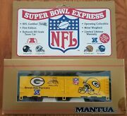 Mantua Ho Scale Green Bay Packers Super Bowl Express 40' Reefer Train Boxcar