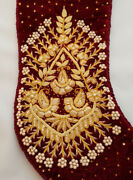 Sudha Red Velvet Vintage Christmas Stocking With Gold Embroidery And Glass Beads