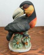 Lefton China Bisque Toucan Bird Figurine Kwi056a - 8 1/2 Tall - Hand Painted