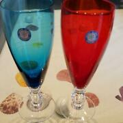 Sasaki Glass Showa Retro Color Glass Set Of 2 Blue And Red New And Unused