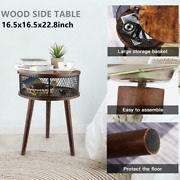 Round Wood Bed Soft Side Table Cafe Balcony Solid End Tables With Storage Layer+