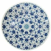 White Marble Dining Table Top Precious Lapis Floral Inlay Art Home Kitchen Decor