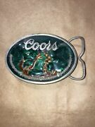Vintage Coors Gold Waterfall Belt Buckle W/ Bottle Opener Made In Usa