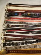Lot Of 21 Leather Western Braided Fashion Belts Vintage And Contemporary