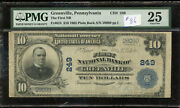1902 First National Bank Of Greenville Pennsylvania 10 - Pmg Vf25 - Fr624