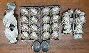 Lot Of 4 Vintage Metal Cased Candy Molds Includes A Bunny Turkey And Large Eggs