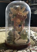 Victorian Glass Domed Valentine The Ugly Duckling Rare 5.5andrdquoh