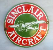 Vintage Old Collectible Rare Sinclair Aircraft Ad Porcelain Enamel Sign Board