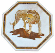 White Marble Coffee Table Top Tiger Eye Handmade Inlay Art Kitchen Decors H2201