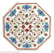 White Marble Dining Table Top Turquoise Floral Inlay Art Handmade Kitchen Decors