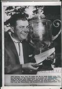 1957 Press Photo Golf Champ, Lionel Hebert With His Trophy And Winning Check