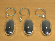 Lot Of 3 Apple Pro Mouse Usb Wired Optical Mice M5769 - Black/clear Color