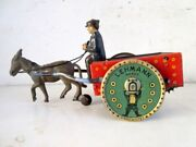 Vintage Old Rare Lehmann Mark Wind Up Man With Cart Litho Tin Toy Germany Made
