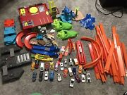 New And Vintage Hot Wheels Track And Car Lot 125+ Pcs Launchers, Garage, Connectors