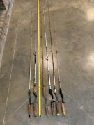 6 Vintage Fishing Poles Rods Wright And Mcgill Morhand Shakespeare Cork Grips