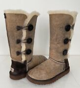 Ugg Bailey Button Triplet Bomber Leather Boots Chocolate Brown Size 7