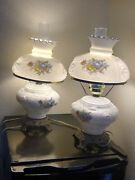 Rare Vintage Fenton Puffy Rose White Milk Glass Hurricane Lamps Gone With The...